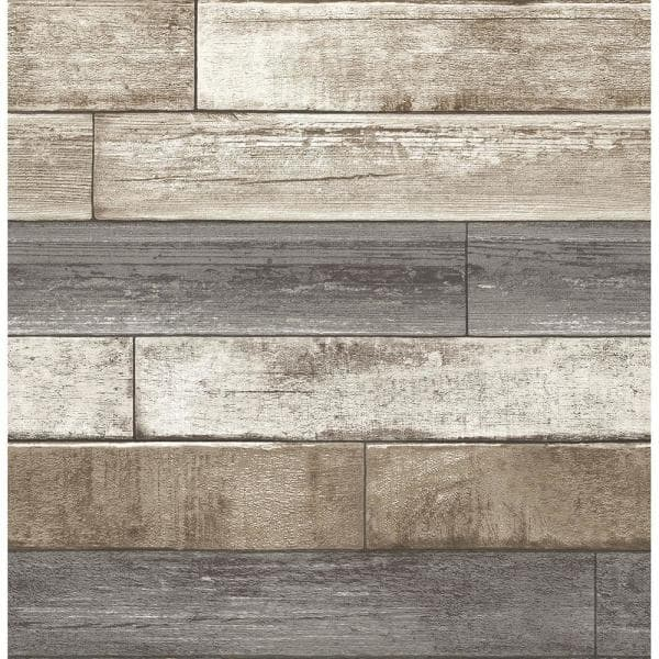 Brewster - Weathered Plank Grey Wood Texture Grey Wallpaper Sample