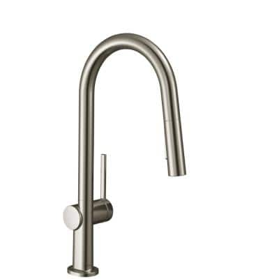 Talis N Single-Handle Pull-Down Sprayer Kitchen Faucet with QuickClean in Steel Optic