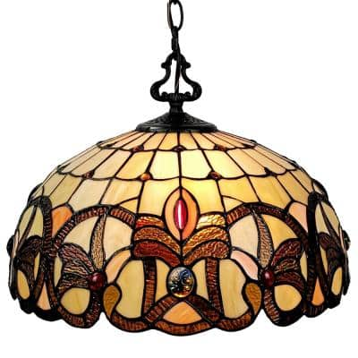 Tiffany 2-Light Brown & Tan Hanging Bowl Pendant with Stained Glass Shade