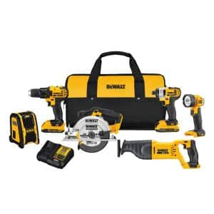 20-Volt MAX Cordless Combo Kit (6-Tool) with (2) 20-Volt 2.0Ah Batteries & Charger