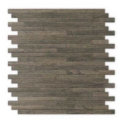 Take Home Sample - Woodly Brown 4 in. x 4 in. x 5 mm Metal Self-Adhesive Wall Mosaic Tile (0.11 sq.ft./Each)