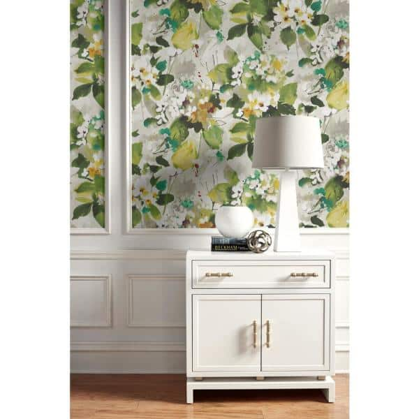 Seabrook Designs Chambon Watercolor Floral Teal Hunter Green Off White And Greige Paper Strippable Roll Covers 60 75 Sq Ft Lg90304 The Home Depot