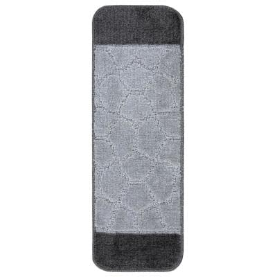 Softy Collection Grey Bordered Design 9 in. x 26 in. Rubber Back Stair Tread Cover (Set of 7)