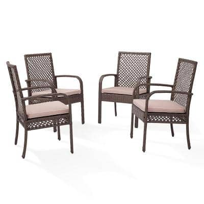 Tribeca Wicker Outdoor Dining Chair with Sand Cushions (4-Pack)