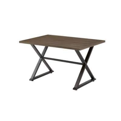 Grayson Brown Rectangular Steel Outdoor Patio Dining Table