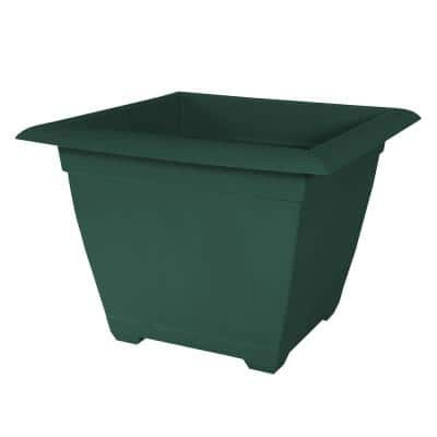 Dayton 15 in. Turtle Green Square Recycled Ocean Plastic Planter with Saucer