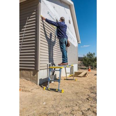4.58 ft. x 2.52 ft. Aluminum Heavy-Duty Adjustable-Height PRO Slim-Fold Work Platform, 375 lbs. Load Capacity