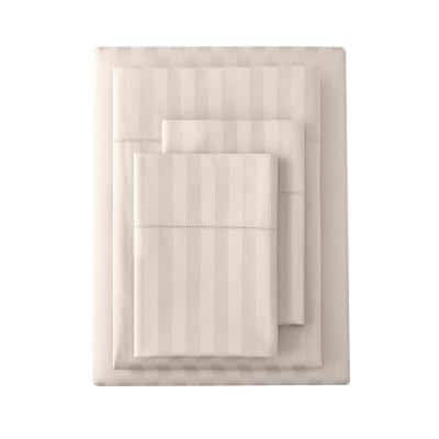 500 Thread Count Egyptian Cotton Sateen 4-Piece King Sheet Set in Biscuit Damask