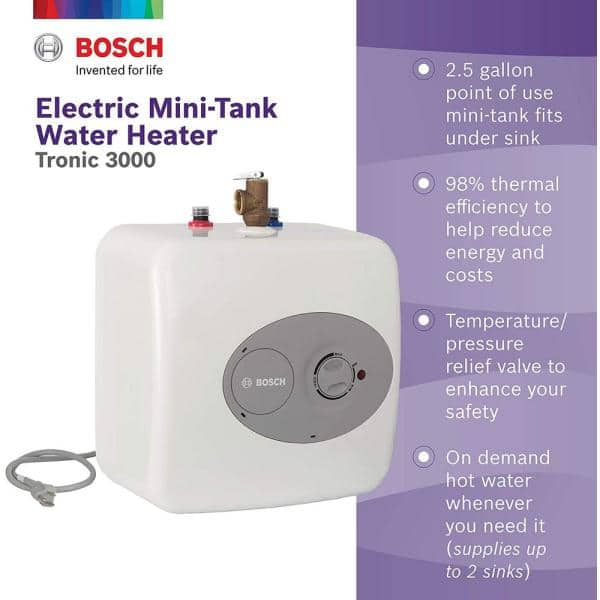 Bosch 2 5 Gal Electric Point Of Use Water Heater Es The Home Depot