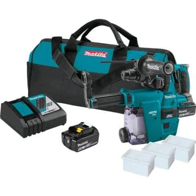 Makita 18V 5.0 Ah LXT Lithium-Ion Brushless 1-in Cordless Rotary Hammer Kit, Accepts SDS-PLUS, HEPA Dust Extractor Attachment