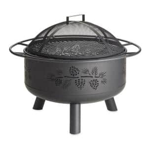 Pine Cone 30 in. x 23 in. Outdoor Black Steel Wood-Burning Fire Pit with Domed Spark Guard