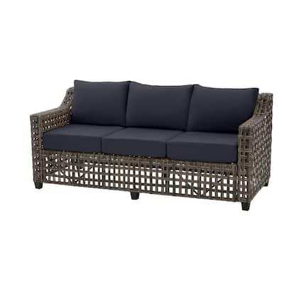 Briar Ridge Brown Wicker Outdoor Patio Sofa with CushionGuard Midnight Navy Blue Cushions