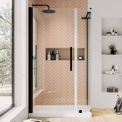 Pasadena 36 in. L x 36 in. W x 72 in. H Corner Shower Kit with Pivot Frameless Shower Door in ORB and Shower Pan