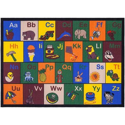 Jenny Collection Multi Alphabet Design 3 ft. x 5 ft. Non-Slip Kids Area Rug