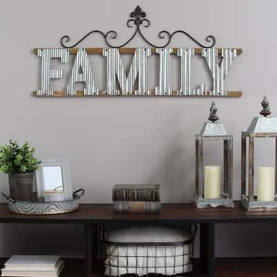 "Interwoven ""Family"" Metal & Wood Wall Decor"