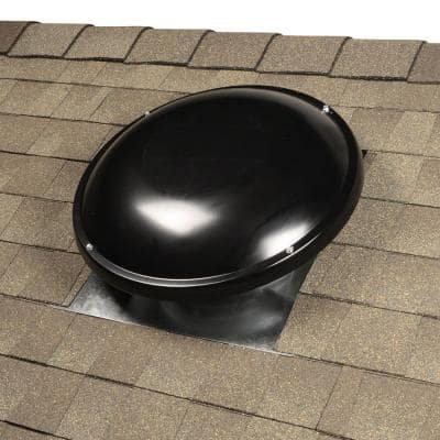 144 sq. in. NFA Galvanized Steel Static Dome Roof Vent in Black