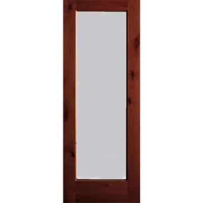 32 in. x 80 in. Rustic Knotty Alder Wood Satin Etch Full-Lite Red Chestnut Stain Left Hand Single Prehung Front Door