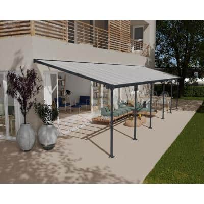 Feria 10 ft. x 34 ft. Grey Patio Cover Awning