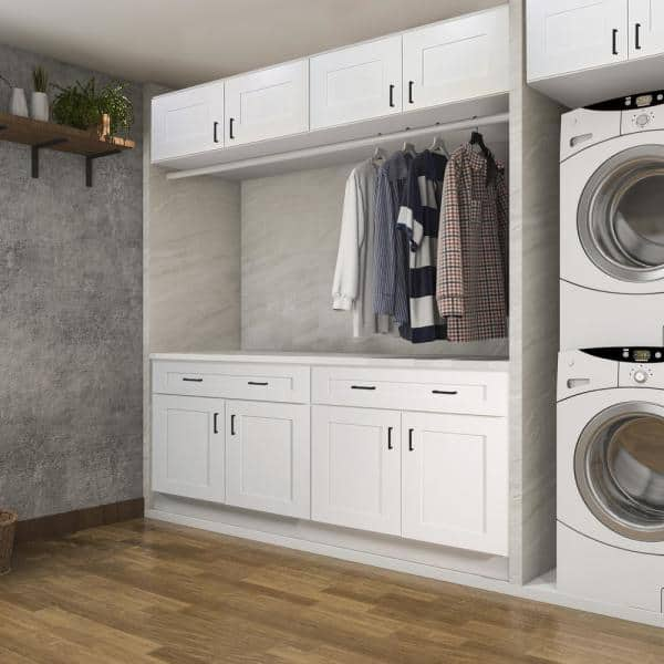 Design House Brookings Plywood Assembled Shaker 18x84x24 In 2 Door Pantry Utility Kitchen Cabinet In White 613588 The Home Depot