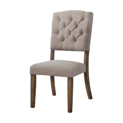 Amelia 2-Pieces Cream Linen And Weathered Oak Side Chair