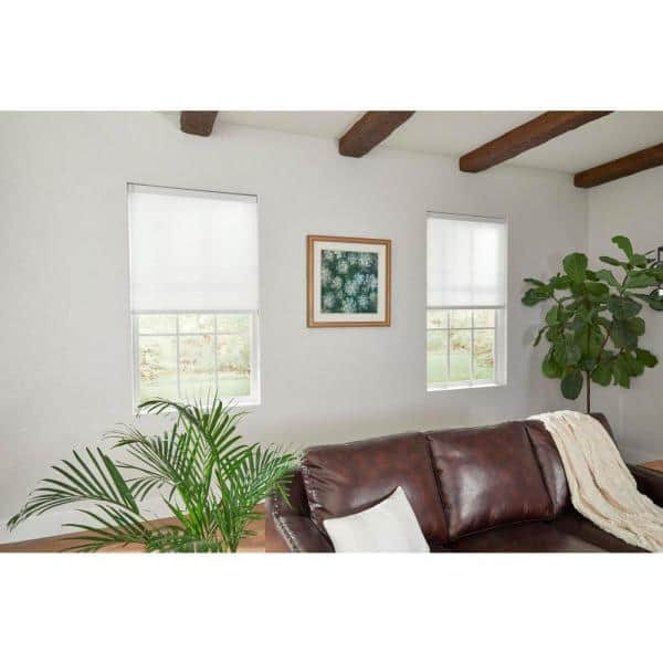 Home Decorators Collection White Cordless Light Filtering Motorized Cellular Shade 25 In W X 48 In L 10793478334629 The Home Depot