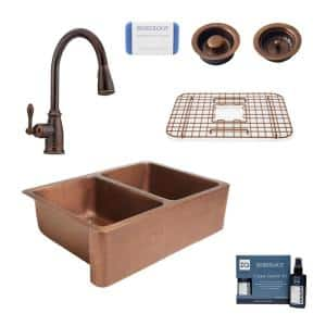 Rockwell Farmhouse Apron-Front Copper All-In-One 33 in. Double Bowl 50/50 Kitchen Sink with Pfister Faucet and Drains