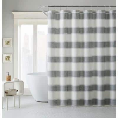 TB Parrot 1-Piece Grey Cotton Blend Cay Stripe Shower Curtain 72 in. x 72 in.