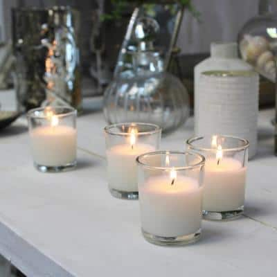 White Unscented Filled Glass Votive Candles (Set of 48)