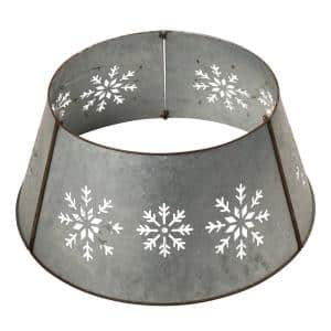 26 in. Dia Snowflake Diecut Metal Tree Collar with Light String(KD)