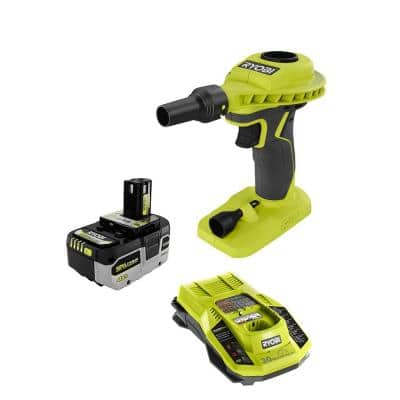 ONE+ 18V Cordless High Volume Power Inflator with HIGH PERFORMANCE 4.0 Ah Battery and Charger Kit