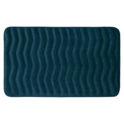 Waves Dusty Blue 20 in. x 32 in. Memory Foam Bath Mat
