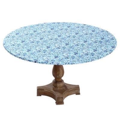 "48"" Cotton Fabric Fitted Table Cover, Blue Mosaic"