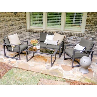 Jasper 4-Piece Aluminum Patio Conversation Set with Gray Cushions