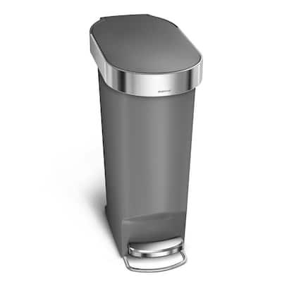 40 l/10.6 Gal. Gray Plastic Slim Kitchen Step Trash Can