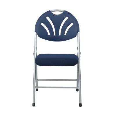 Blue Plastic and Silver Metal Stackable Folding Chair (Set of 4)