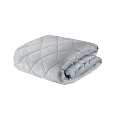 Luxury Grey Quilted Mink 60 in. x 70 in. 18 lbs. Weighted Blanket