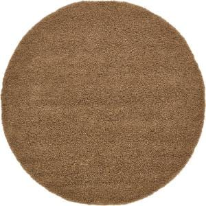 Solid Shag Sandy Brown 8 ft. Round Area Rug