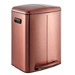 Marco Rectangular 10.5 Gal. Double Bucket Trash Can with Soft-Close Lid, Rose Gold