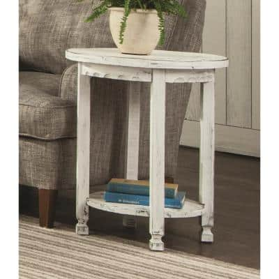 Country Cottage White Antique Round End Table