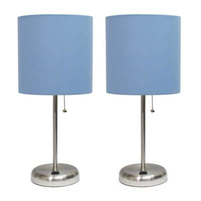 19.5 in. Blue Stick Lamp with USB charging port and Fabric Shade Set (2-Pack)