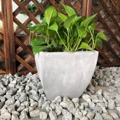 Large 17.7 in. x 17.7 in. x 17.7 in. Light Gray Lightweight Concrete Flared Square Planter