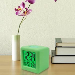 3-1/4 in. x 3-1/4 in. Soft Green Cube LCD Digital Alarm Clock