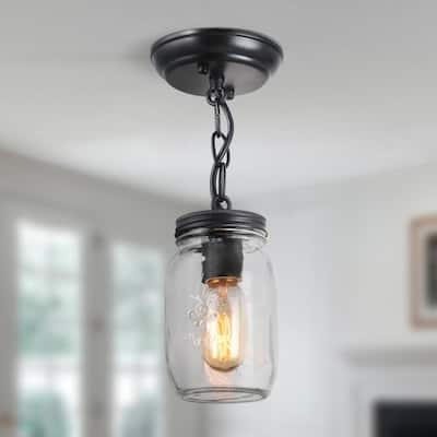 Flush Mount Lighting Mina 1-Light Oil-Rubbed Bronze Vintage Glass Semi Flush Mount Farmhouse Mason Jar Light Fixture