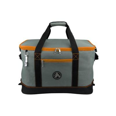 2-Cargo Pockets Collapsible Soft Cooler with Bottle Opener in Orange