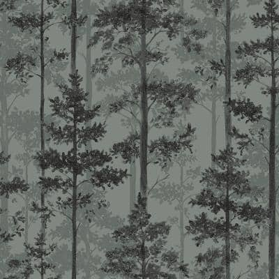 Pine Sage Silhouette Trees Paper Strippable Wallpaper (Covers 57.8 sq. ft.)