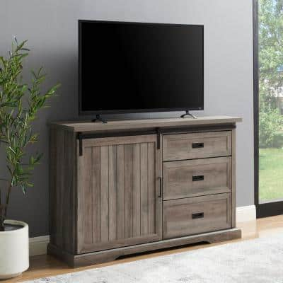 Grey Wash Wood Sideboard with Sliding Grooved Door