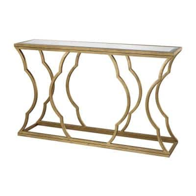 60 in. Antique Gold/Clear Standard Rectangle Mirrored Console Table