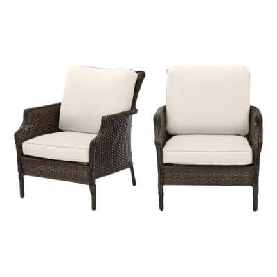 Grayson Brown Wicker Outdoor Patio Lounge with CushionGuard Almond Tan Cushions (2-Pack)