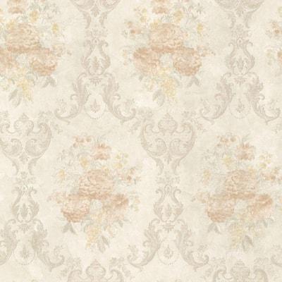 Dutchess Peach Floral Damask Vinyl Peelable Roll Wallpaper (Covers 56 sq. ft.)