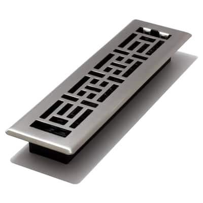 2 in. x 12 in. Steel Brushed Nickel Oriental Design Floor Register